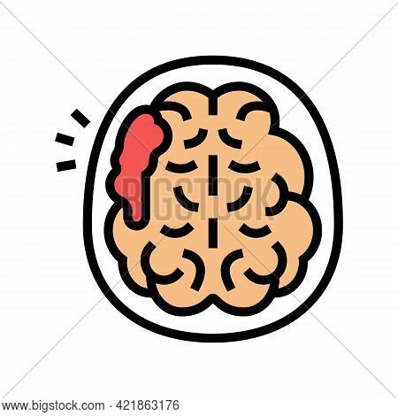Brain Stroke Color Icon Vector. Brain Stroke Sign. Isolated Symbol Illustration