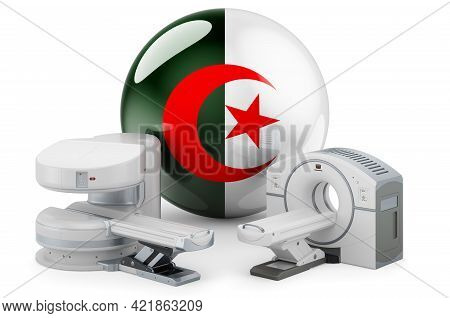 Mri And Ct Diagnostic, Research Centres In Algeria. Mri Machine And Ct Scanner With Algerian Flag, 3