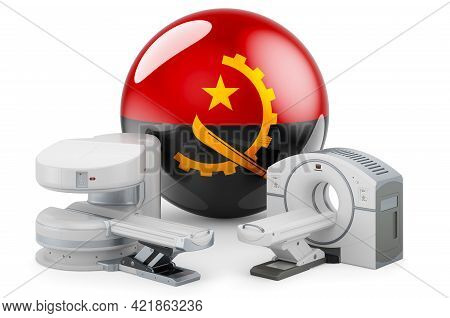 Mri And Ct Diagnostic, Research Centres In Angola. Mri Machine And Ct Scanner With Angolan Flag, 3d