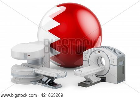 Mri And Ct Diagnostic, Research Centres In Bahrain. Mri Machine And Ct Scanner With Bahraini Flag, 3