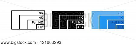 Different Screen Resolution Icons Set. Screen Resolution Comperison Hd, Ultra Hd, 4K, 8K. Video Qual