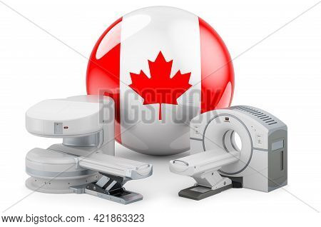 Mri And Ct Diagnostic, Research Centres In Canada. Mri Machine And Ct Scanner With Canadian Flag, 3d