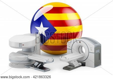 Mri And Ct Diagnostic, Research Centres In Catalonia. Mri Machine And Ct Scanner With Catalan Flag,