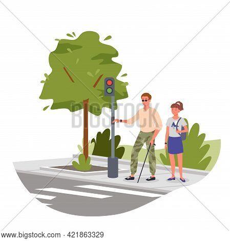 Disabled Blind Man On Street Crosswalk, Handicapped Character Holding Stick Cane, Walking