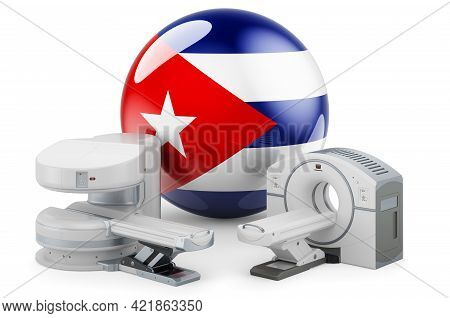 Mri And Ct Diagnostic, Research Centres In Cuba. Mri Machine And Ct Scanner With Cuban Flag, 3d Rend