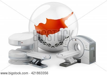 Mri And Ct Diagnostic, Research Centres In Cyprus. Mri Machine And Ct Scanner With Cypriot Flag, 3d