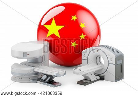 Mri And Ct Diagnostic, Research Centres In China. Mri Machine And Ct Scanner With Chinese Flag, 3d R