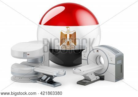 Mri And Ct Diagnostic, Research Centres In Egypt. Mri Machine And Ct Scanner With Egyptian Flag, 3d