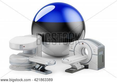 Mri And Ct Diagnostic, Research Centres In Estonia. Mri Machine And Ct Scanner With Estonian Flag, 3