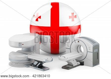 Mri And Ct Diagnostic, Research Centres In Georgia. Mri Machine And Ct Scanner With Georgian Flag, 3