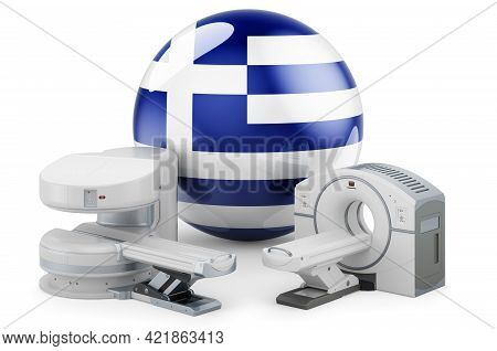 Mri And Ct Diagnostic, Research Centres In Greece. Mri Machine And Ct Scanner With Greek Flag, 3d Re