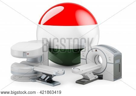 Mri And Ct Diagnostic, Research Centres In Hungary. Mri Machine And Ct Scanner With Hungarian Flag,