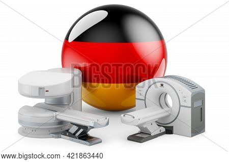 Mri And Ct Diagnostic, Research Centres In Germany. Mri Machine And Ct Scanner With German Flag, 3d