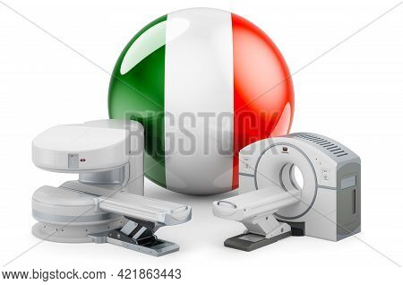 Mri And Ct Diagnostic, Research Centres In Ireland. Mri Machine And Ct Scanner With Irish Flag, 3d R