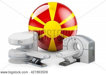 Mri And Ct Diagnostic, Research Centres In Macedonia. Mri Machine And Ct Scanner With Macedonian Fla