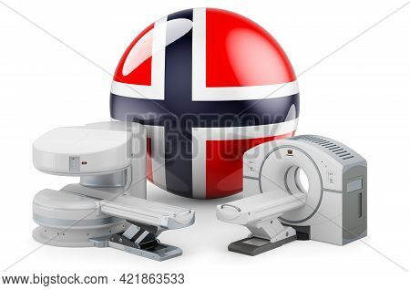 Mri And Ct Diagnostic, Research Centres In Norway. Mri Machine And Ct Scanner With Norwegian Flag, 3
