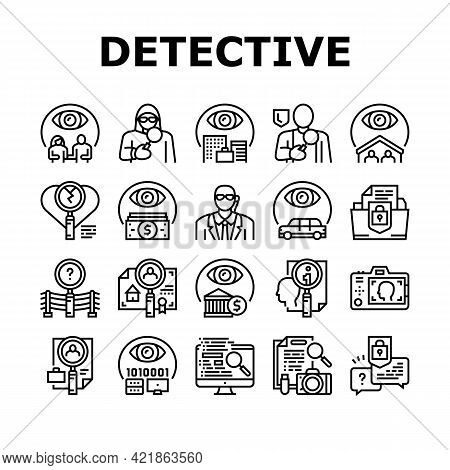 Private Detective Collection Icons Set Vector. Detective Job For Protection Of Intellectual Property