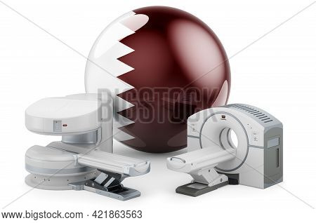 Mri And Ct Diagnostic, Research Centres In Qatar. Mri Machine And Ct Scanner With Qatari Flag, 3d Re