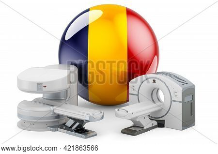 Mri And Ct Diagnostic, Research Centres In Romania. Mri Machine And Ct Scanner With Romanian Flag, 3