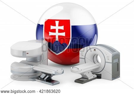 Mri And Ct Diagnostic, Research Centres In Slovakia. Mri Machine And Ct Scanner With Slovak Flag, 3d