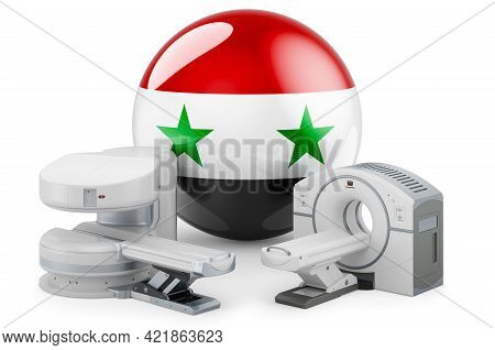 Mri And Ct Diagnostic, Research Centres In Syria. Mri Machine And Ct Scanner With Syrian Flag, 3d Re