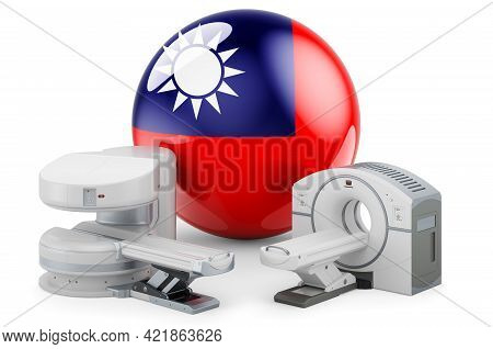 Mri And Ct Diagnostic, Research Centres In Taiwan. Mri Machine And Ct Scanner With Taiwanese Flag, 3