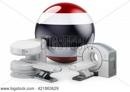 Mri And Ct Diagnostic, Research Centres In Thailand. Mri Machine And Ct Scanner With Thai Flag, 3d R