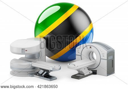 Mri And Ct Diagnostic, Research Centres In Tanzania. Mri Machine And Ct Scanner With Tanzanian Flag,