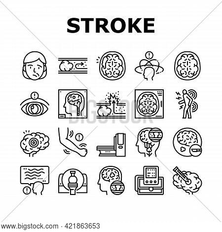 Stroke Health Problem Collection Icons Set Vector. Surgical Operation Brain Stroke Treat And Injecti