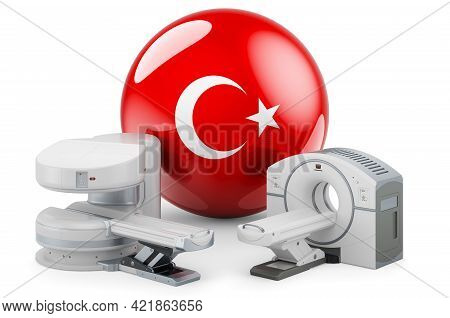Mri And Ct Diagnostic, Research Centres In Turkey. Mri Machine And Ct Scanner With Turkish Flag, 3d