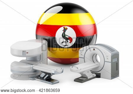 Mri And Ct Diagnostic, Research Centres In Uganda. Mri Machine And Ct Scanner With Ugandan Flag, 3d