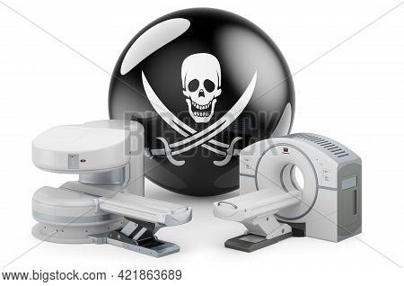 Mri Machine And Ct Scanner With Piracy Flag, 3d Rendering Isolated On White Background
