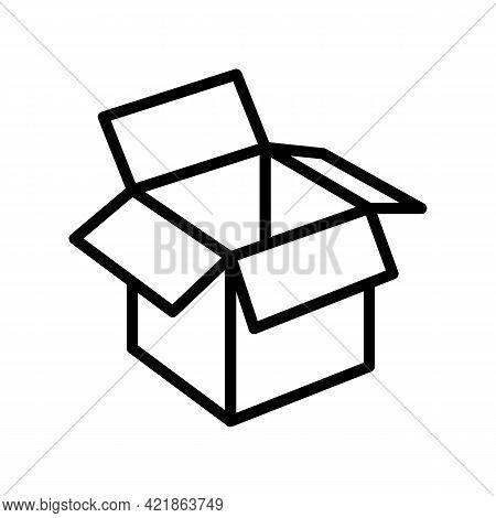 Carton Box Line Icon Vector. Carton Box Sign. Isolated Contour Symbol Black Illustration