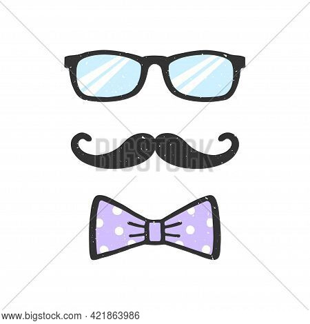 Glasses, Moustache And Bow Vector Illustration With Texture. Decoration For Fathers Day. Man Face. D