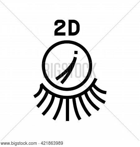 2d Eyelashes Line Icon Vector. 2d Eyelashes Sign. Isolated Contour Symbol Black Illustration