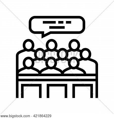 Trial Jury Line Icon Vector. Trial Jury Sign. Isolated Contour Symbol Black Illustration