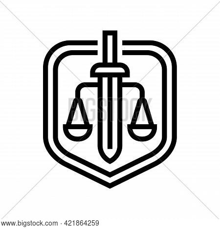 Justice Law Line Icon Vector. Justice Law Sign. Isolated Contour Symbol Black Illustration