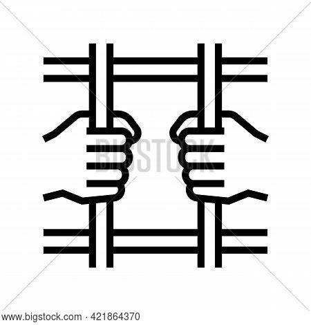 Crime Law Line Icon Vector. Crime Law Sign. Isolated Contour Symbol Black Illustration