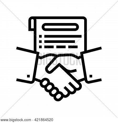 Agreement Lawyer Line Icon Vector. Agreement Lawyer Sign. Isolated Contour Symbol Black Illustration