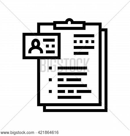 Form Of Motel Visitor Line Icon Vector. Form Of Motel Visitor Sign. Isolated Contour Symbol Black Il