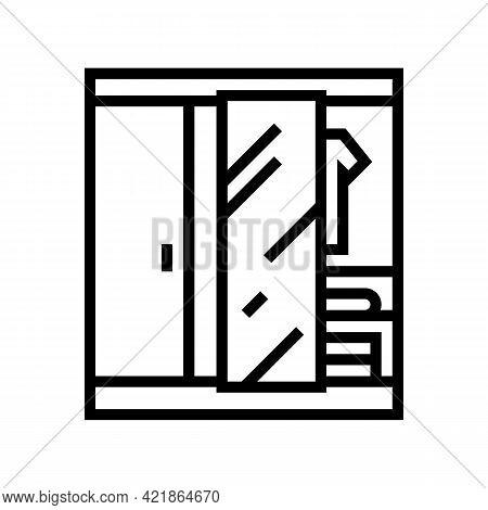 Wardrobe Room Motel Line Icon Vector. Wardrobe Room Motel Sign. Isolated Contour Symbol Black Illust