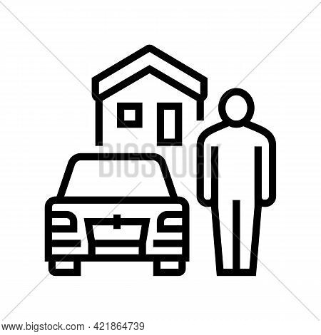 Resting House On Motel Territory Line Icon Vector. Resting House On Motel Territory Sign. Isolated C