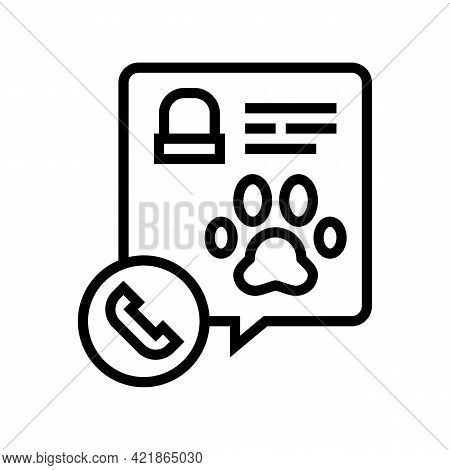 Calling Pet Funeral Service Line Icon Vector. Calling Pet Funeral Service Sign. Isolated Contour Sym