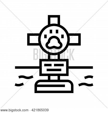 Grave Pet With Cross Line Icon Vector. Grave Pet With Cross Sign. Isolated Contour Symbol Black Illu