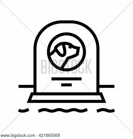Dog Dead Pet Monument Line Icon Vector. Dog Dead Pet Monument Sign. Isolated Contour Symbol Black Il
