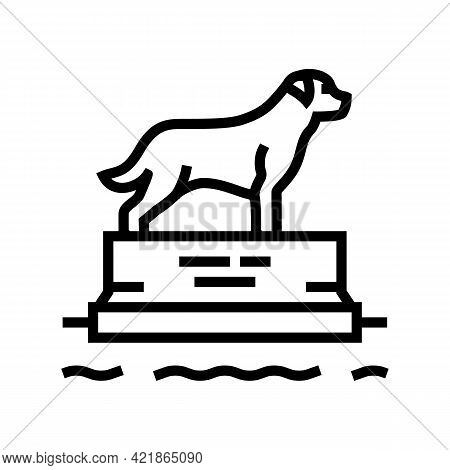 Dead Dog Pedestal Line Icon Vector. Dead Dog Pedestal Sign. Isolated Contour Symbol Black Illustrati