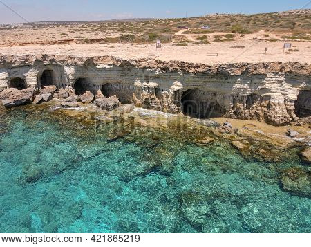 The Coast With Caves Near Ayia Napa In Cyprus