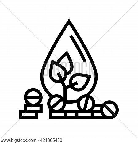 Medicaments For Blood Phytotherapy Line Icon Vector. Medicaments For Blood Phytotherapy Sign. Isolat