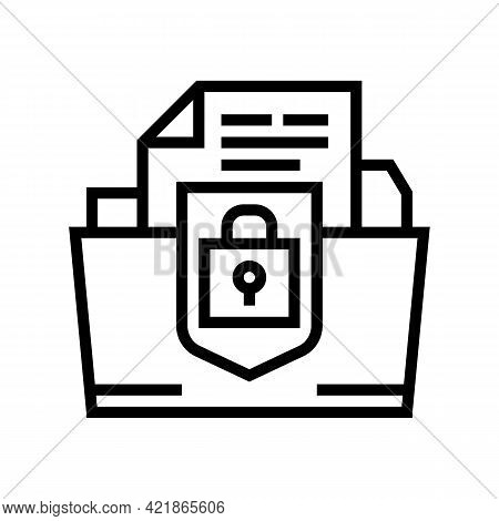 Protection Of Intellectual Property Line Icon Vector. Protection Of Intellectual Property Sign. Isol
