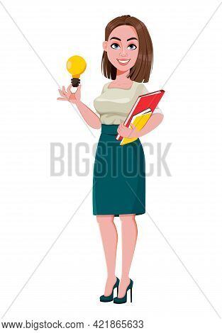 Young Successful Business Woman Having A Good Idea. Cute Businesswoman Cartoon Character.  Stock Vec